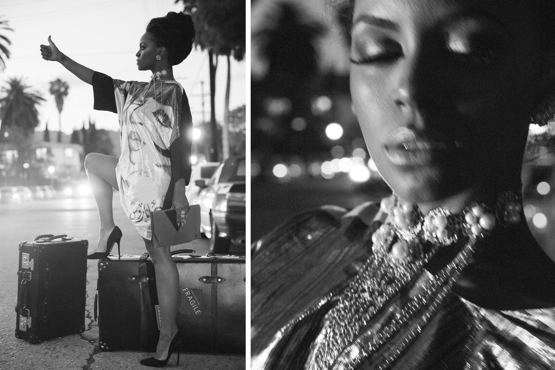 Diana Ross shirt OTT DUBAI / Bag OFAOLAIN LEATHER / Shoes GUCCI / Necklace FRANCI JEWELRY