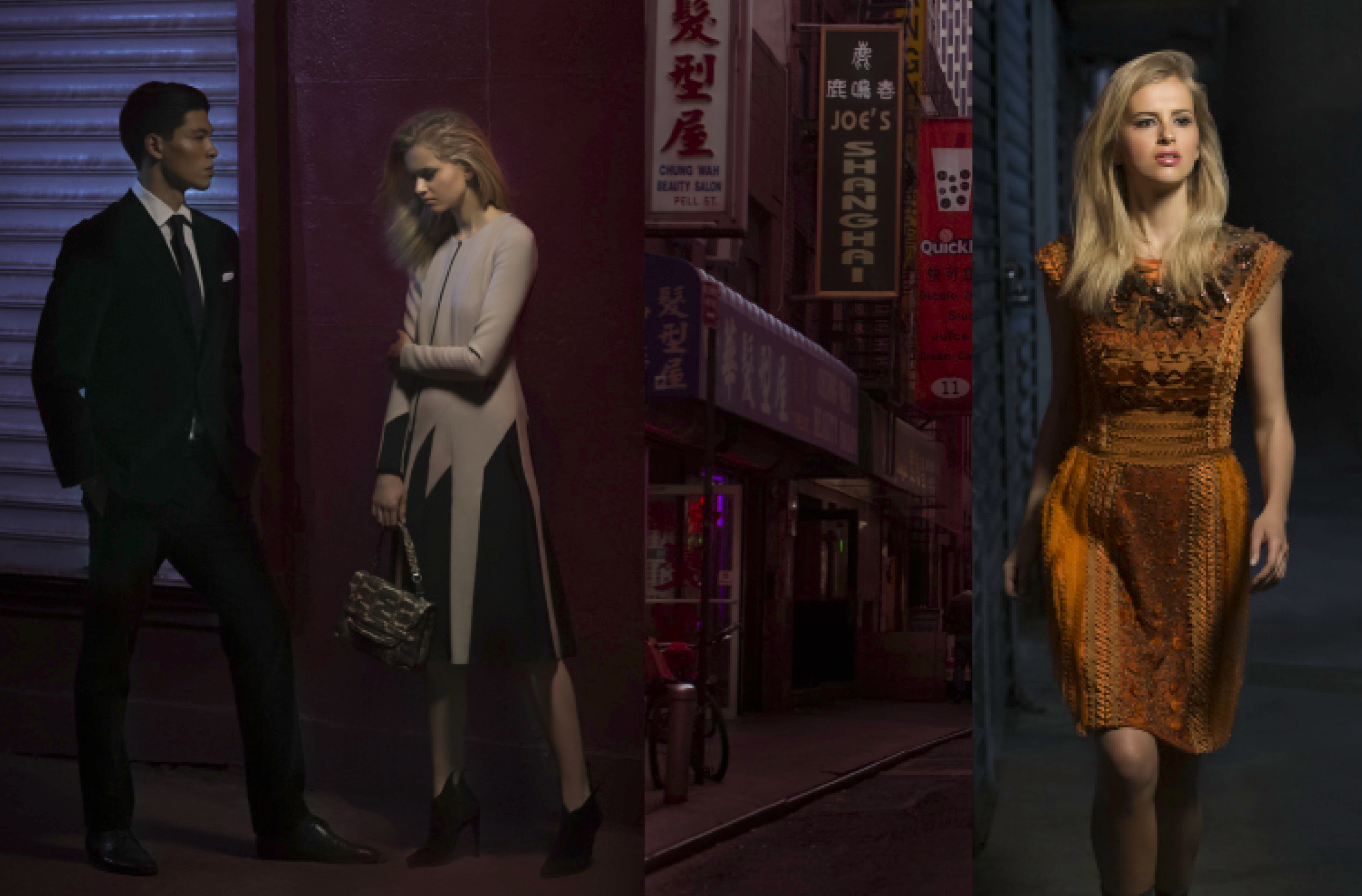 LEFT: Dress, Bag & Shoes BOTTEGA VENETA/ Suit PRADARIGHT: Dress ALBERTA FERRETTI