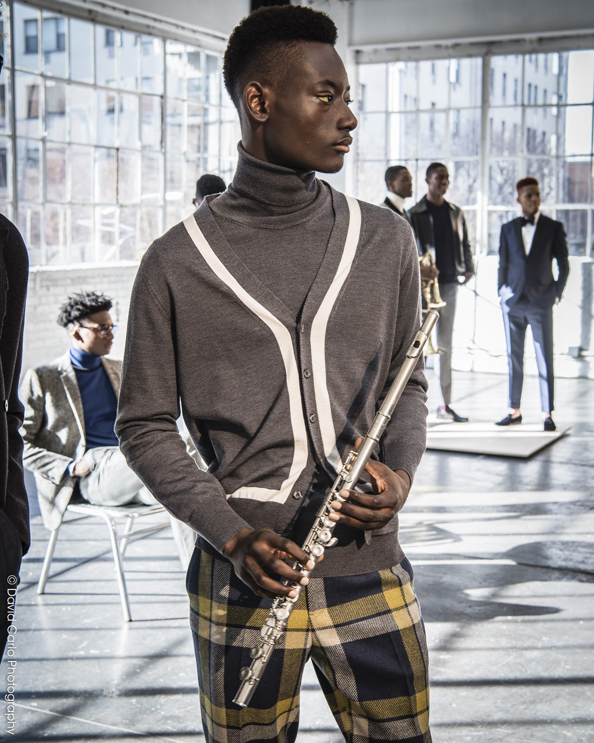 """This classical """"twin set"""" ensemble pairs a turtle neck and cardigan."""