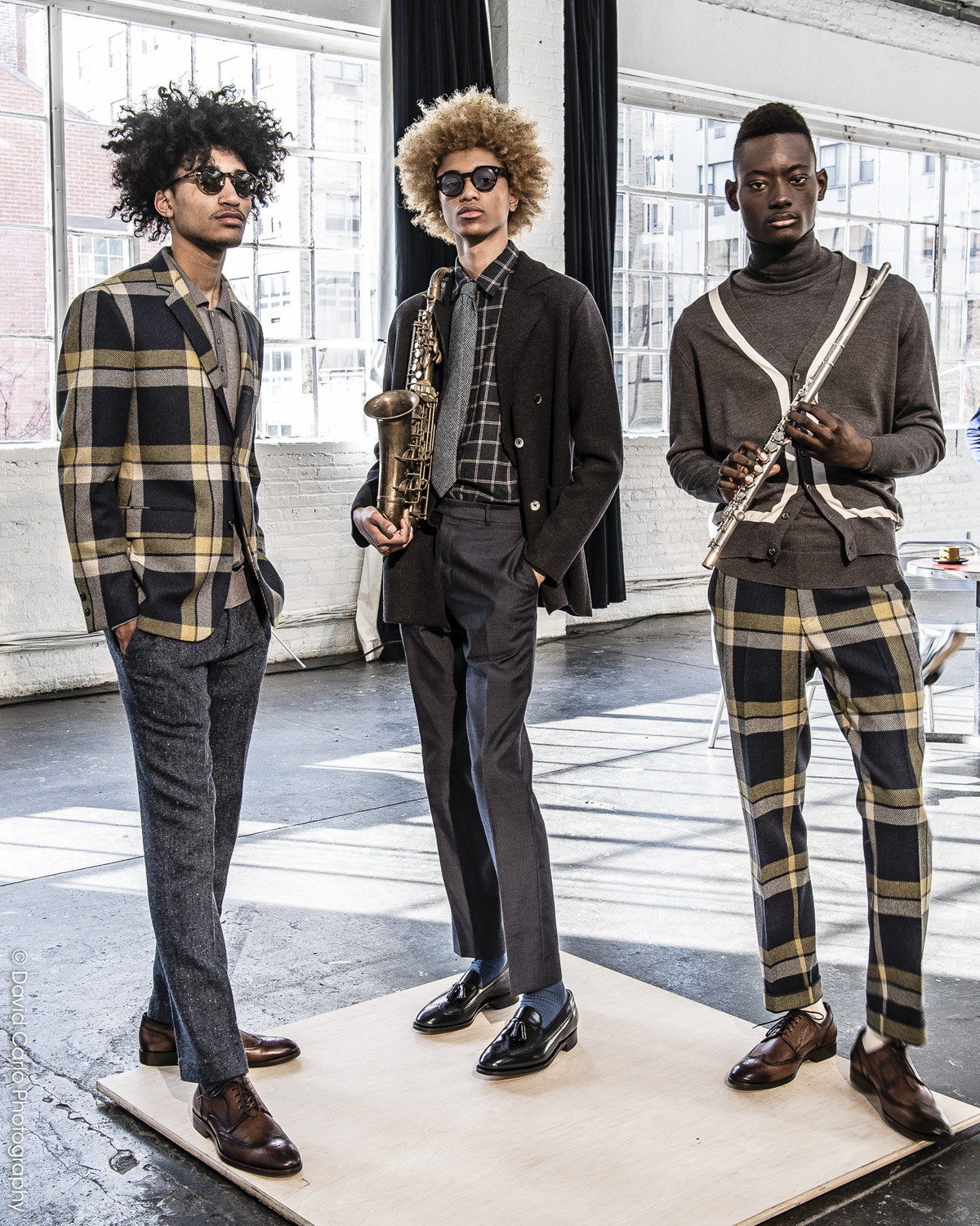 Bold plaid woolens can always be counted on in a David Hart repertoire.