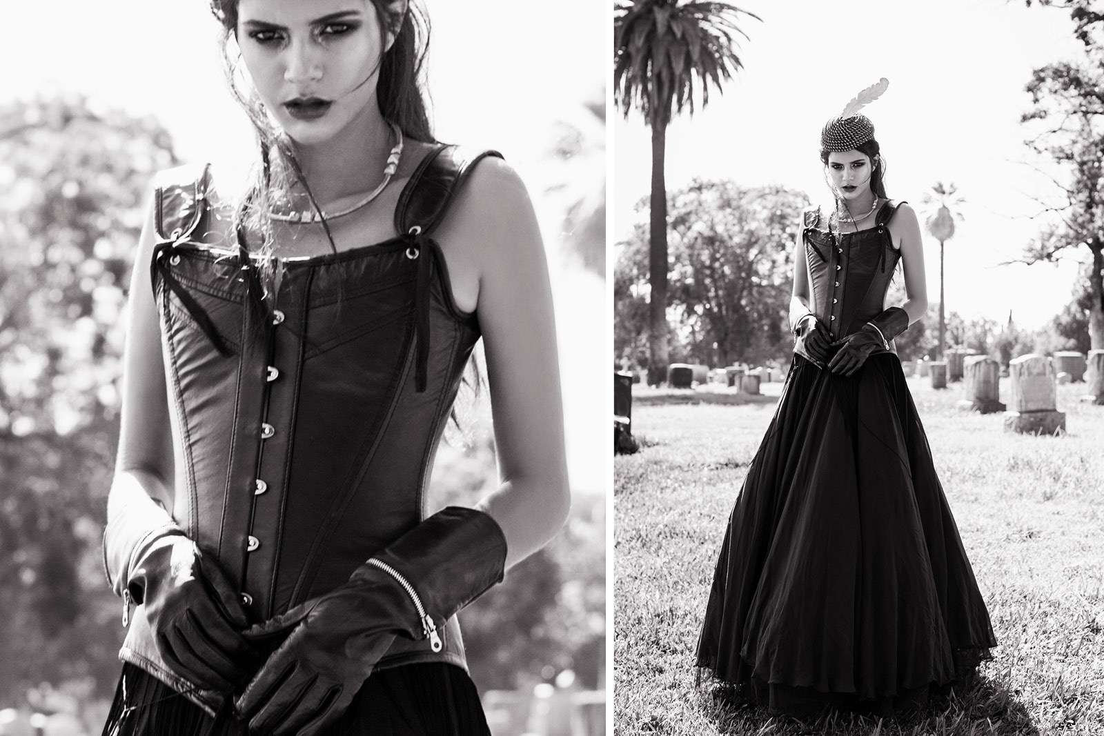Leather corset LA MAISON DE FASHION / Skirt JANI & KHOSLA / Gloves BRUNO CARLO / Hat LA MAISON DE FASHION / Necklace PUSHMATAaHA
