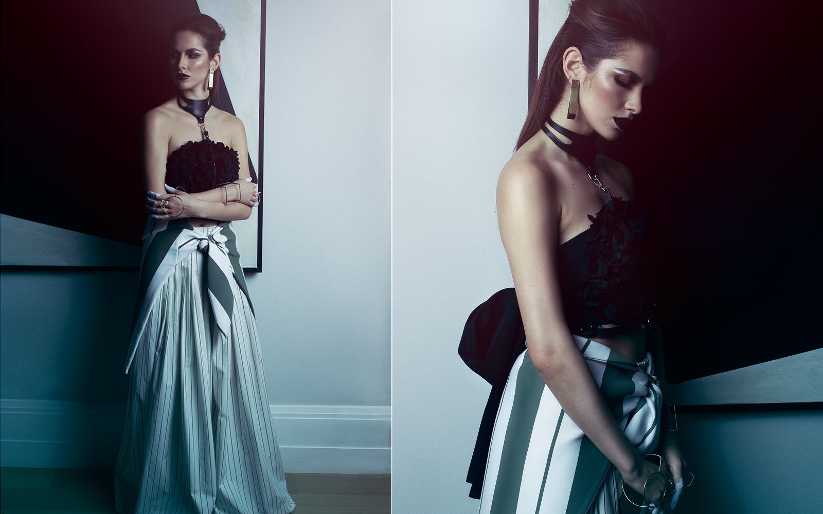 Harness ZANA BAYNE / Top MONSE / Wrap Skirt ANDREA JIAPEI LI / Pants MONSE / Earrings AOKO SU / Bracelets AOKO SU / Rings XIAOHE SHEN