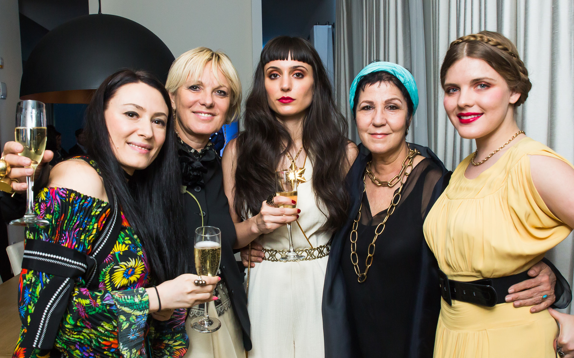 Left to Right: Yelena Deyneko, Daniela Kamiliotis, Gwendalin Grewal, Cynthia Altoriso and Syrie Moskowitz, at Edition Hotel, celebrating Maxwell birthday and Spirit & Flesh magazine cover story by Mark Seliger