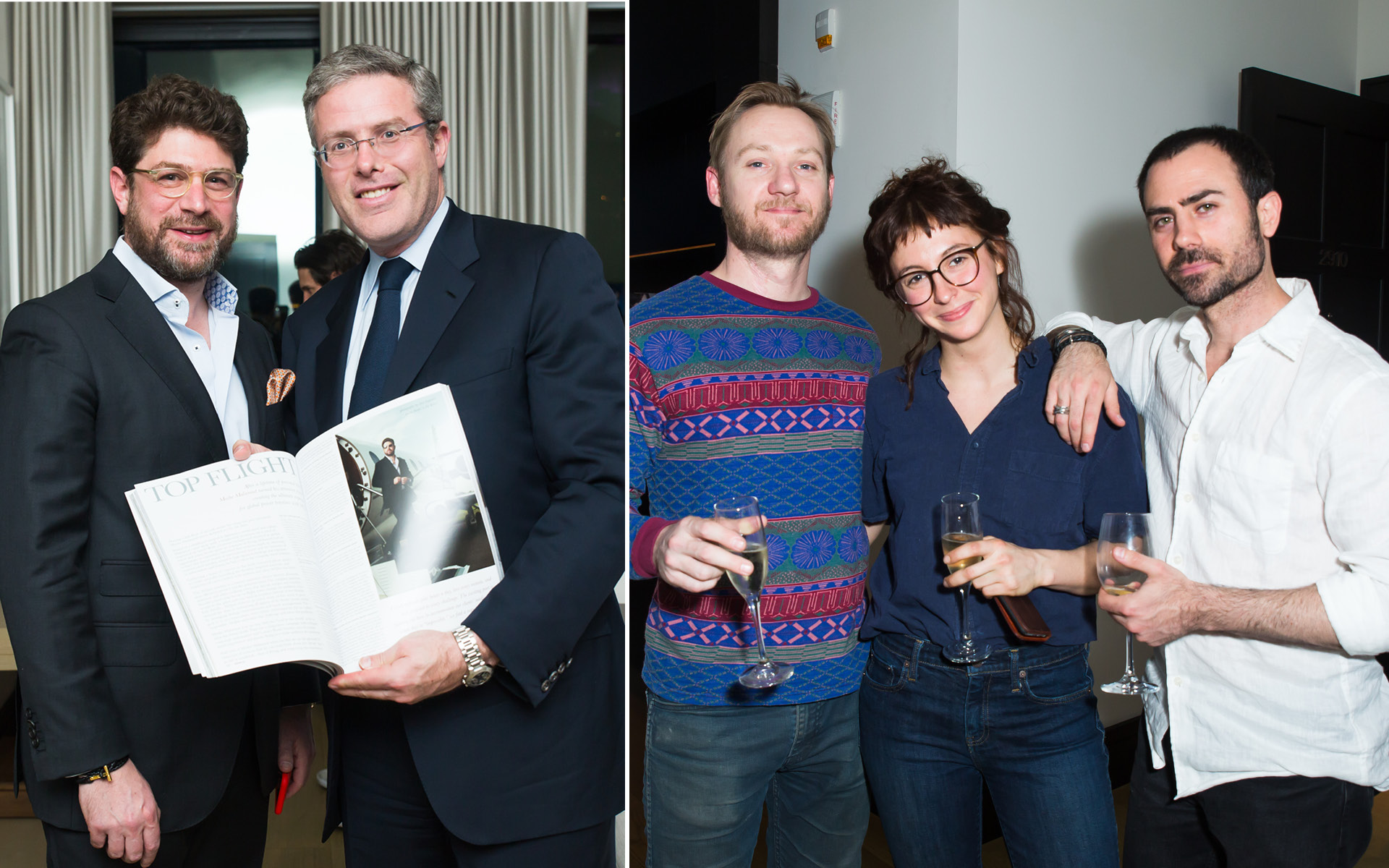 Left: Moshe Malamud and David Scharf; Right: Meagan Glesser and Schweiger Roy, at Edition Hotel, celebrating Maxwell birthday and Spirit & Flesh magazine cover story by Mark Seliger