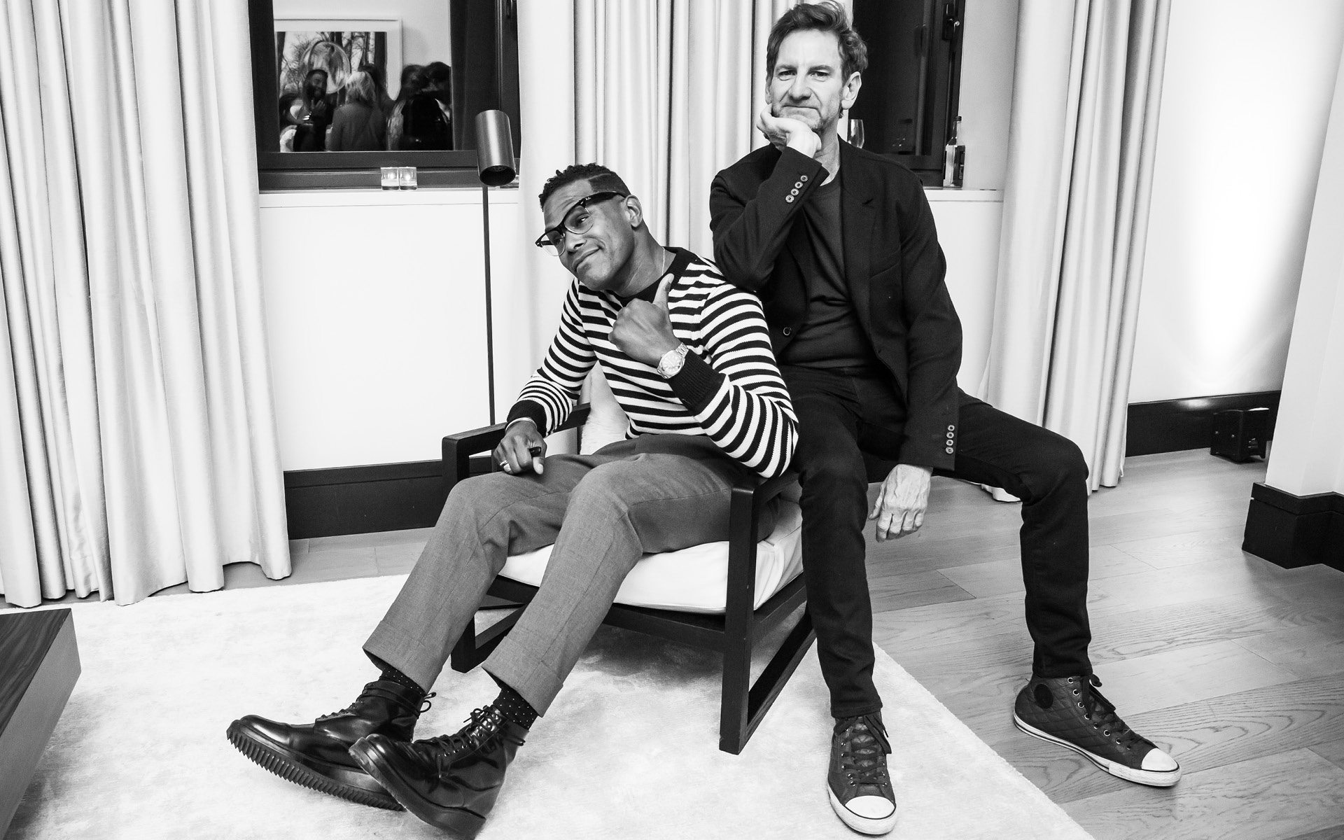 Maxwell and Mark Seliger, at Edition Hotel, celebrating Maxwell birthday and Spirit & Flesh magazine cover story by Mark Seliger