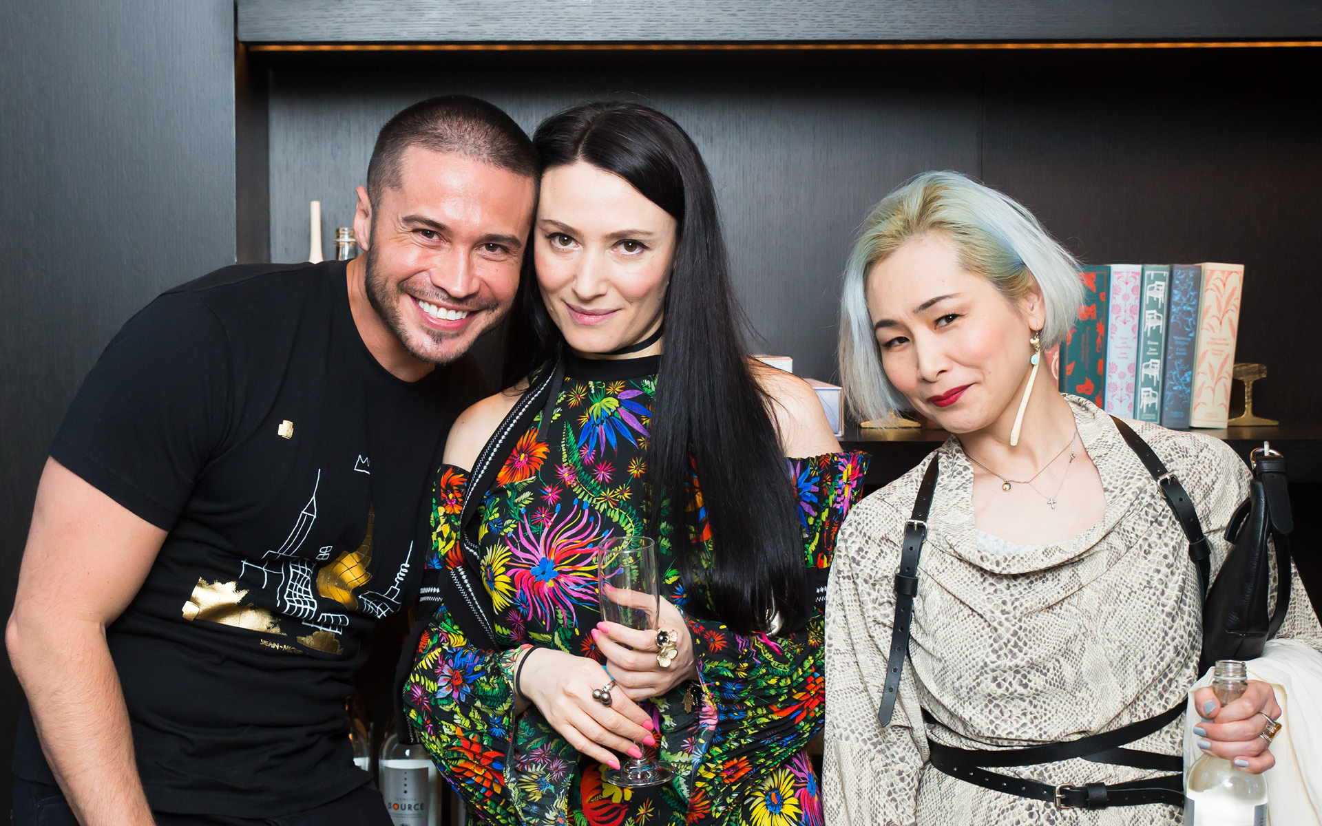 Edward Cruz, Yelena Deyneko and Yachi Gault, at Edition Hotel, celebrating Maxwell birthday and Spirit & Flesh magazine cover story by Mark Seliger