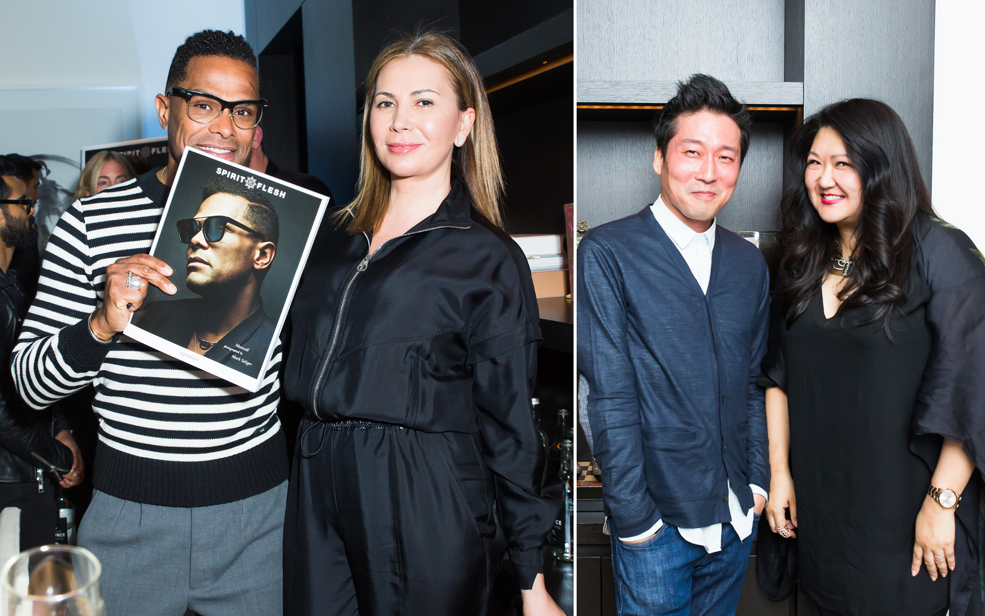 Maxwell, Inga Rosenberg, Susan Shin and guest, at Edition Hotel, celebrating Maxwell birthday and Spirit & Flesh magazine cover story by Mark Seliger
