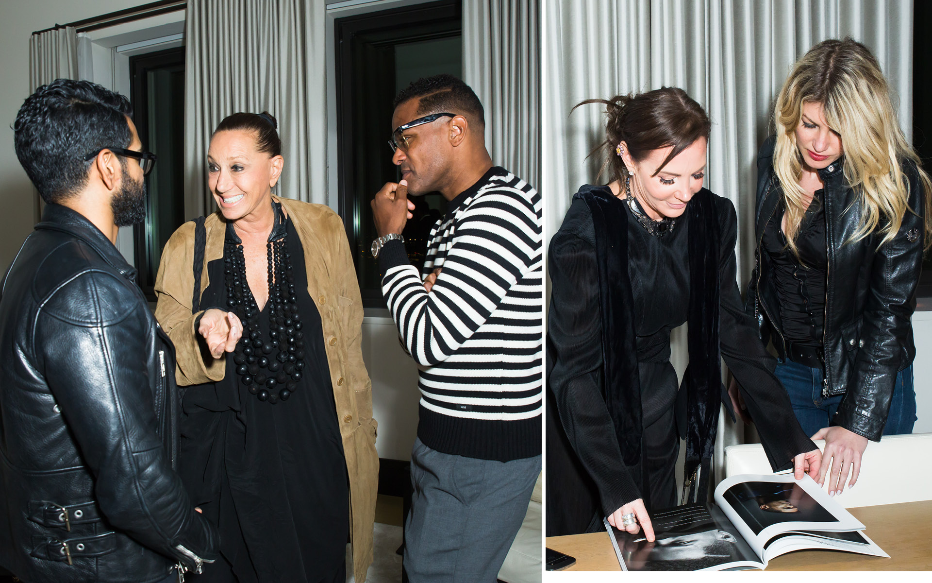 Donna Karan, Maxwell, Camilla Olsson and Meredith Ostrom, at Edition Hotel, celebrating Maxwell birthday and Spirit & Flesh magazine cover story by Mark Seliger
