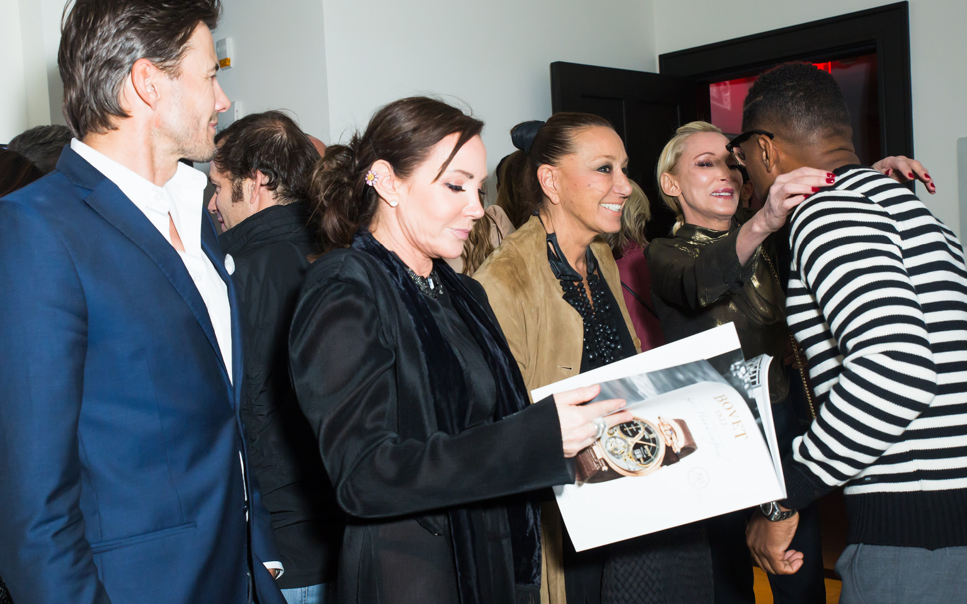 Alex Ludqvist, Donna Karan, Maxwell, Camilla Olsson, Miguel Forbs, and Jackie Astier, at Edition Hotel, celebrating Maxwell birthday and Spirit & Flesh magazine cover story by Mark Seliger