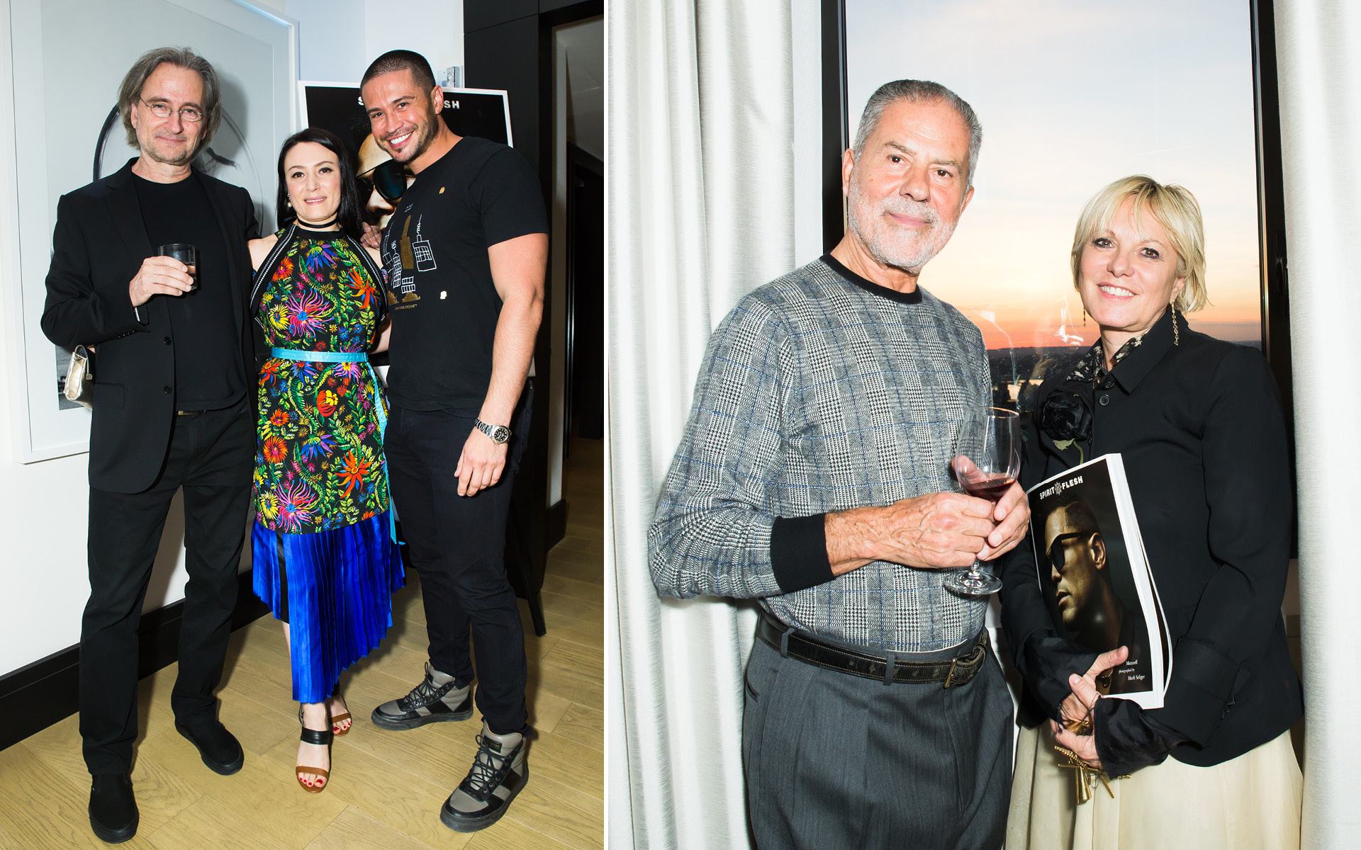Left: Christopher Austopchuk, Yelena Deyneko and Edward Cruz; Right: Thanos Kamiliotis and Daniela Kamiliotis, at Edition Hotel, celebrating Maxwell birthday and Spirit & Flesh magazine cover story by Mark Seliger