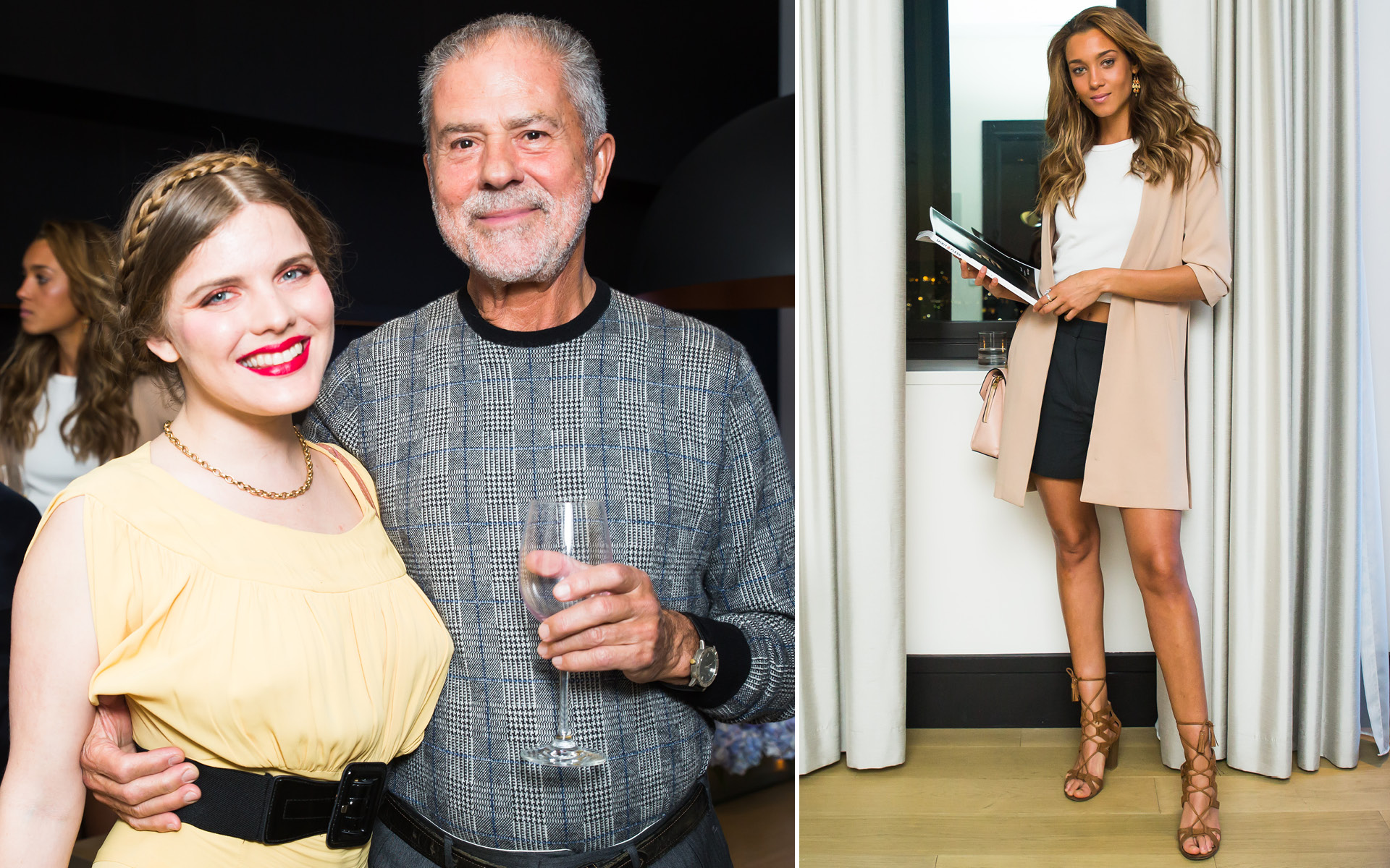 Left: Syrie Moskowitz and Thanos Kamiliotis; Right: Ebony Anderberg, at Edition Hotel, celebrating Maxwell birthday and Spirit & Flesh magazine cover story by Mark Seliger