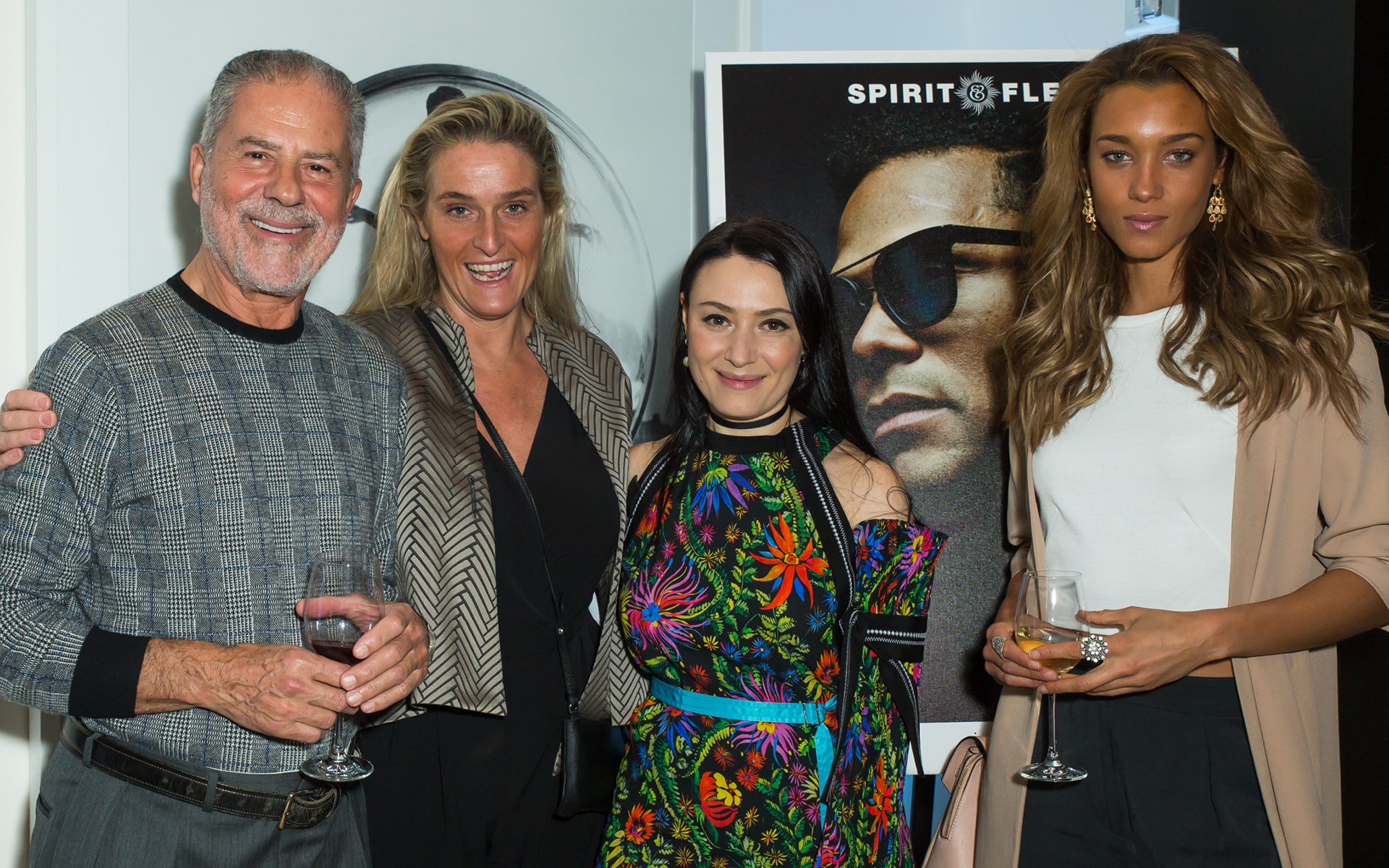 Left to Right: Thanos Kamiliotis, Anjelina Jolin, Yelena Deyneko and Ebony Anderberg, at Edition Hotel, celebrating Maxwell birthday and Spirit & Flesh magazine cover story by Mark Seliger